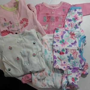 6 Month Baby Long Sleeve Jammies LOT Carter's etc